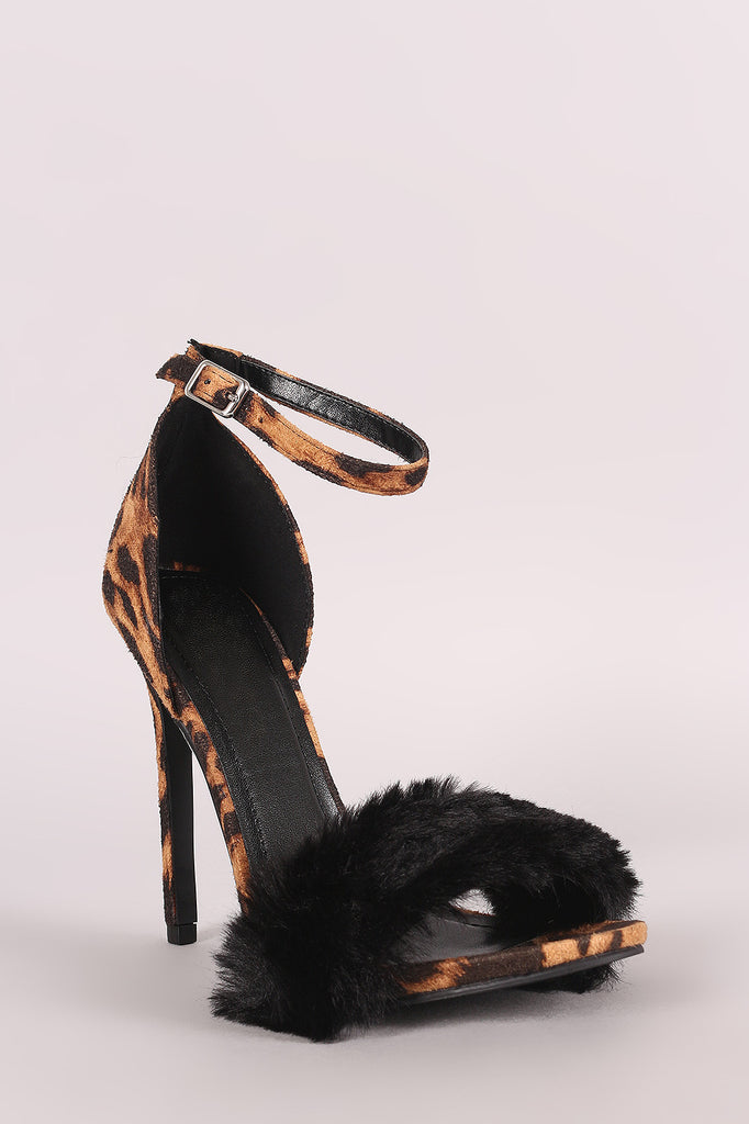 Shoe Republic LA Leopard Faux Fur Accent Ankle Strap Heel