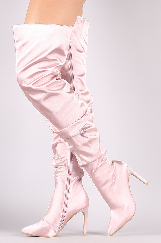 Slouchy Satin Pointy Toe Stiletto Over-The-Knee Boots
