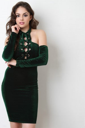 Corset Lace Up Cold Shoulder Velvet Dress