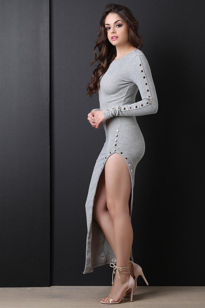 Long Sleeve Ribbed Knit Decorative Button Dress