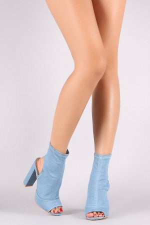 Denim Peep Toe Chunky Heeled Booties