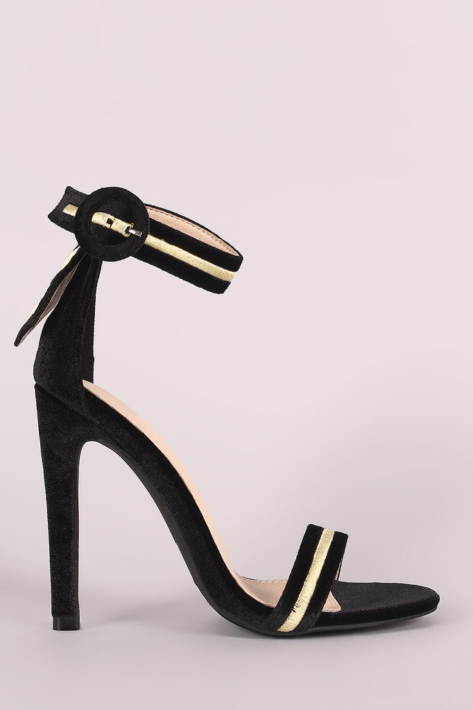 Velvet Embroidered Military Stripe Ankle Strap Heel