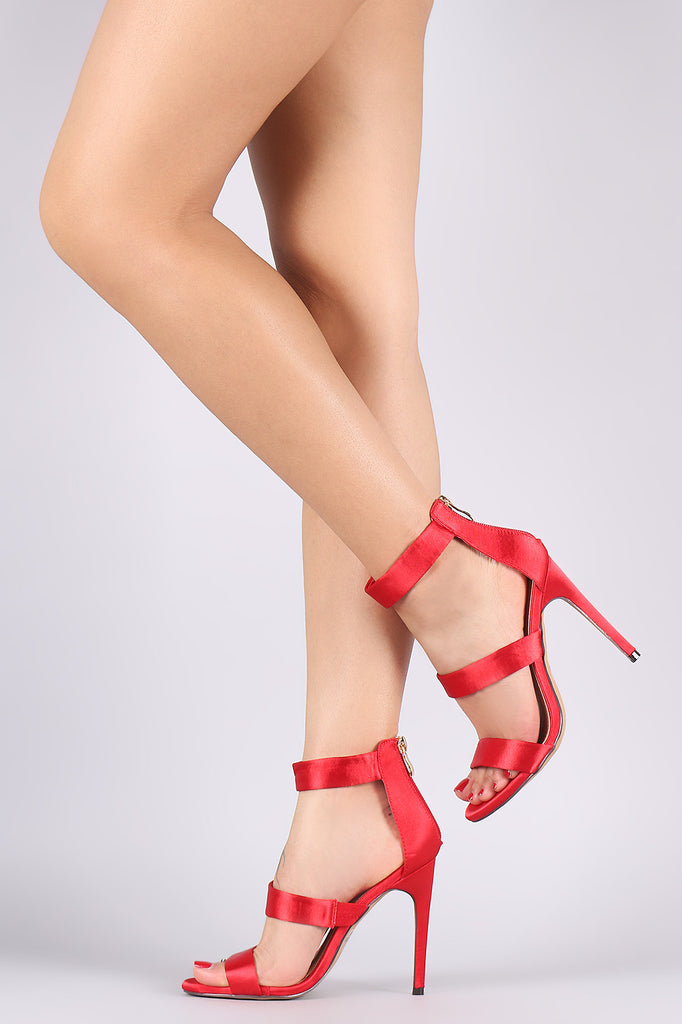 Liliana Satin Triple Band Open Toe Stiletto Heel