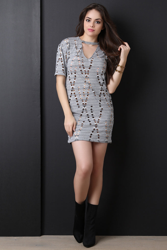 Laser Eyelet Cutout T-shirt Dress