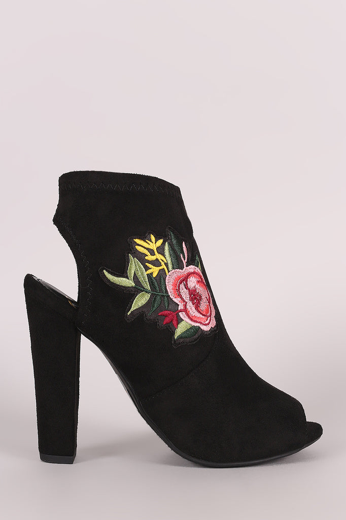 Delicious Suede Floral Patch Peep Toe Chunky Heeled Booties