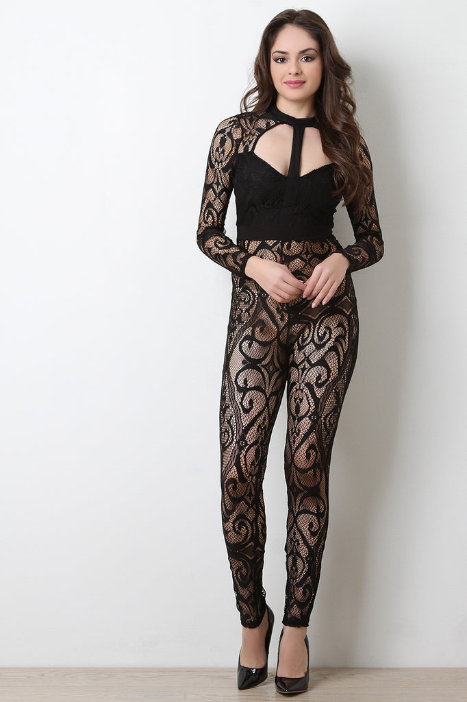 Semi-Sheer Mesh Lace Cutout Jumpsuit