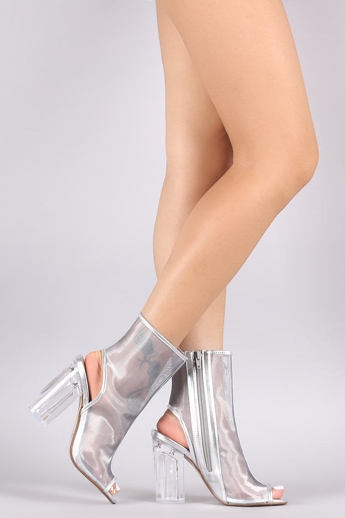 Delicious Mesh Chunky Clear Heeled Booties
