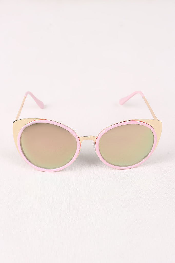 Mirrored Oval Metallic Cat Eye Sunglasses