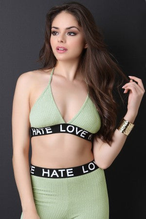 Love Hate Ribbed Knit Triangle Bralette Top