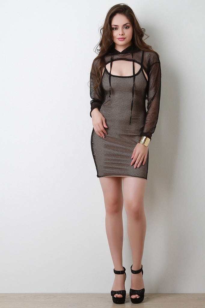 Two Piece Hoodie Mesh Bodycon Dress
