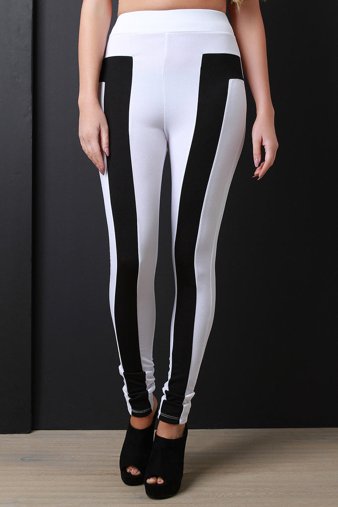 Two-Tone High-Waisted Stretch Pants