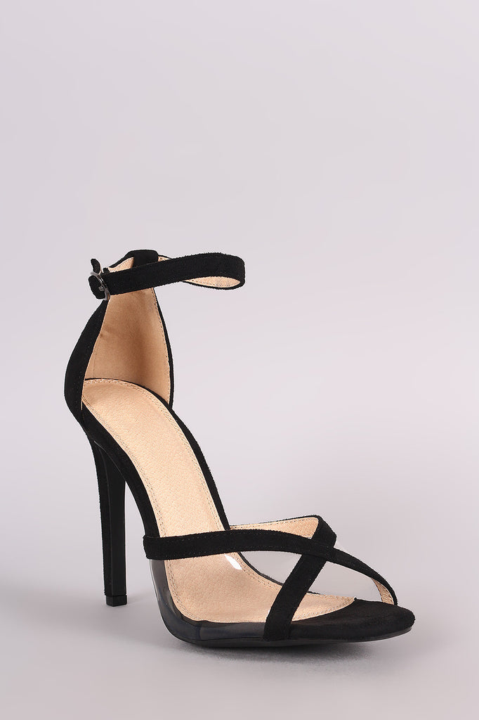 Suede Lucite Inset Ankle Strap Stiletto Heel