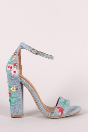 Shoe Republic LA Embroidered Floral Denim Chunky Heel