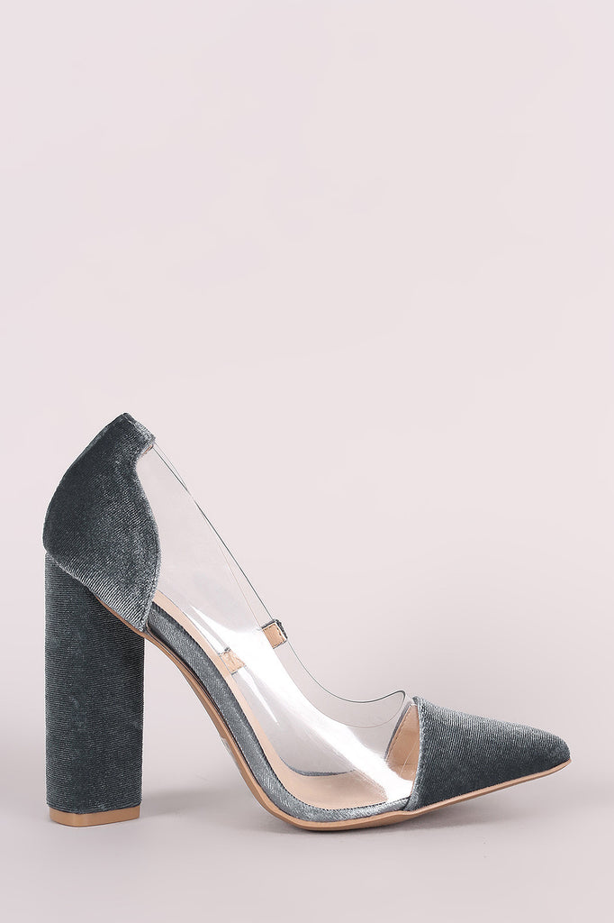 Qupid Crushed Velvet Lucite Inset Chunky Heeled Pump