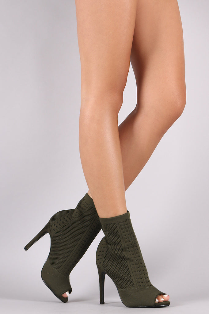 Knit Peep Toe Stiletto Ankle Boots