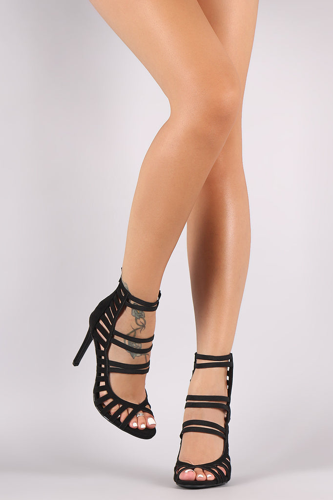 Vegan Suede Elasticized Strappy Cage Stiletto Heel