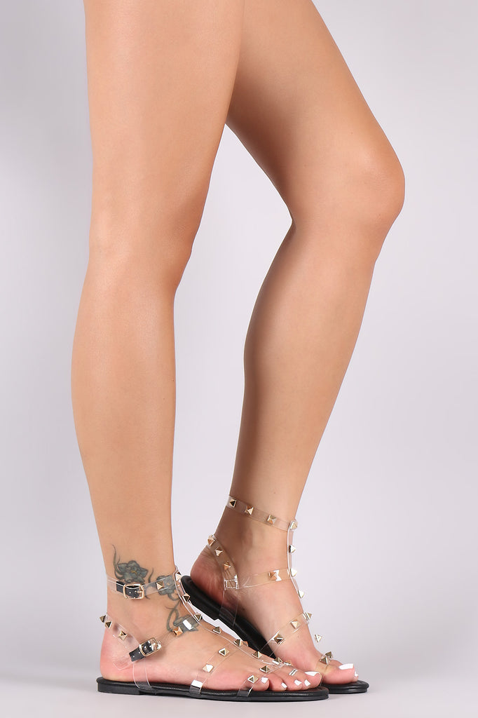 Liliana Clear Studded Cage Double Ankle Strap Flat Sandal