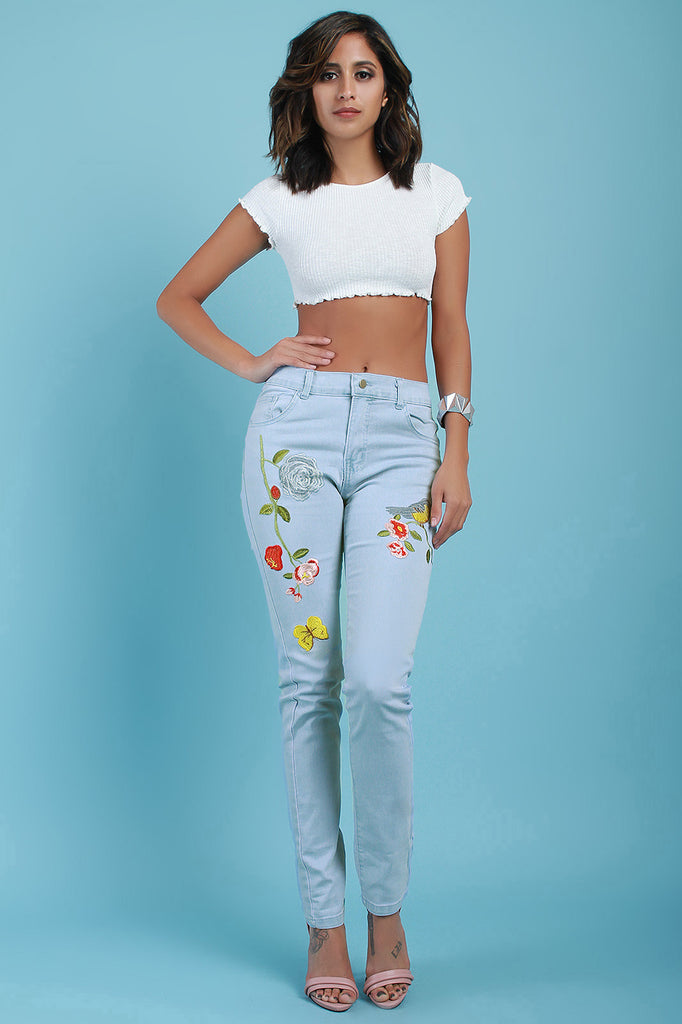 Bird And Butterfly Embroidered Denim Jeans