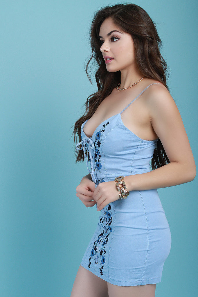 Floral Vine Embroidered Corset Lace Chambray Dress