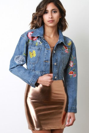 Embroidered Bird Butterfly Denim Jean Jacket