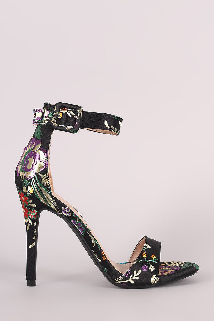 Shoe Republic LA Floral Brocade Satin Ankle Strap Heel