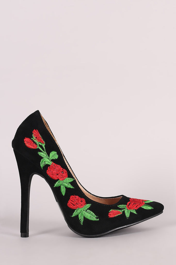 Embroidered Floral Suede Pointy Toe Stiletto Pump