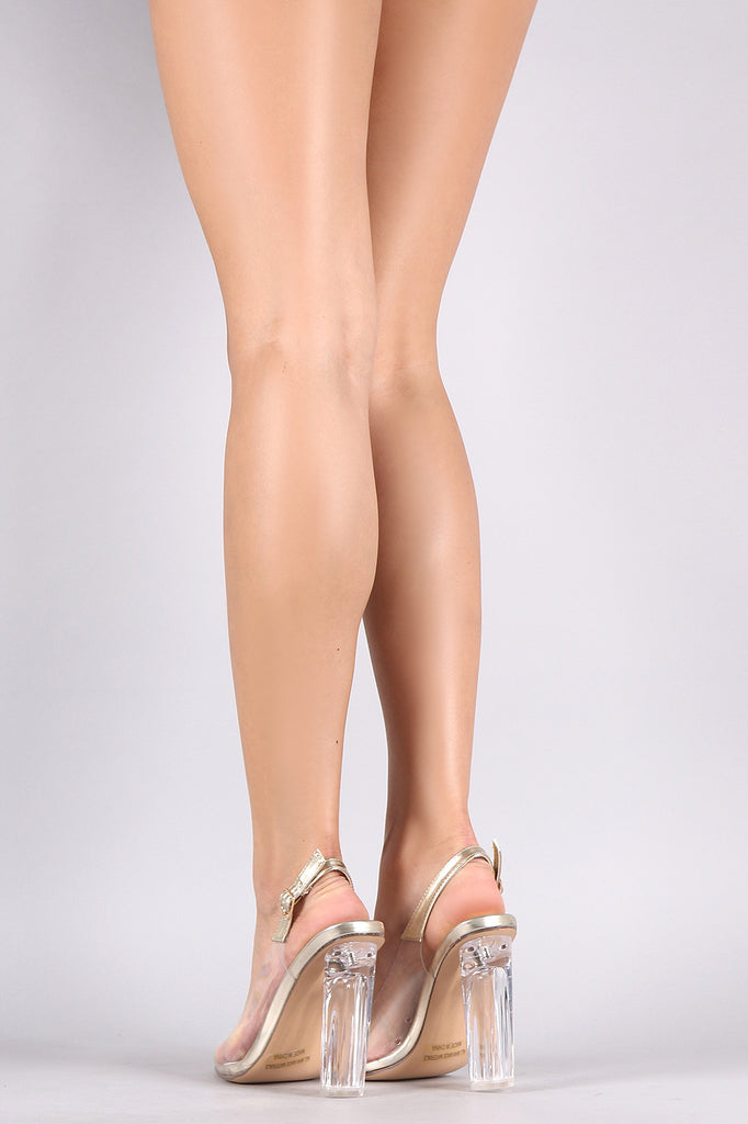 Transparent Peep Toe Perspex Heeled Slingback Pump