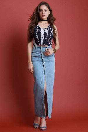 Front Slit Button-Up Denim Maxi Skirt