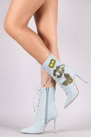Qupid Denim Military Patch Lace Up Booties