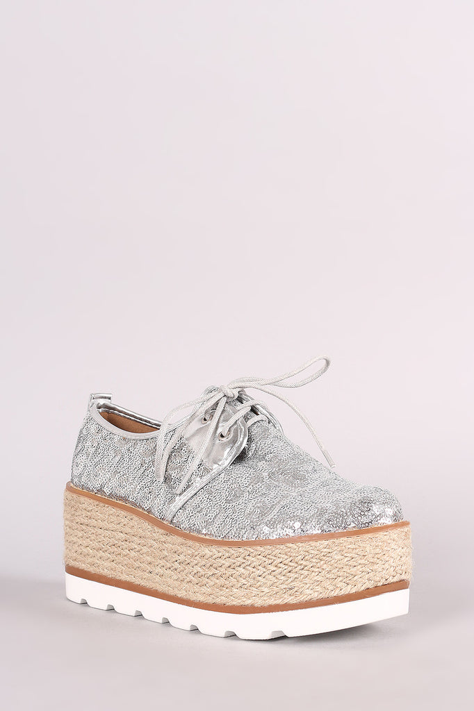 Sequined Lace Up Espadrille Oxford Flatform Wedge