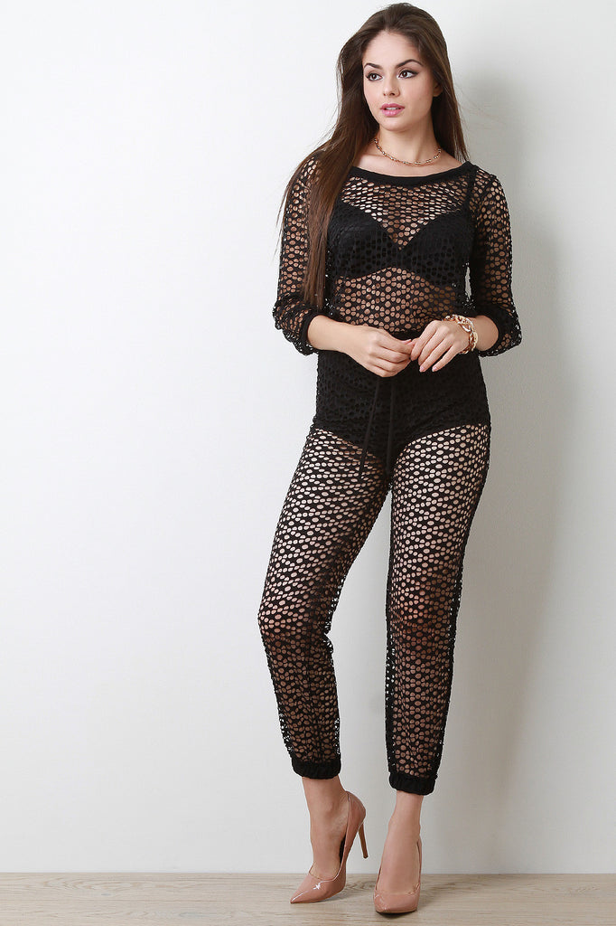 Diamond Fishnet Mesh Boat Neck Jumpsuit