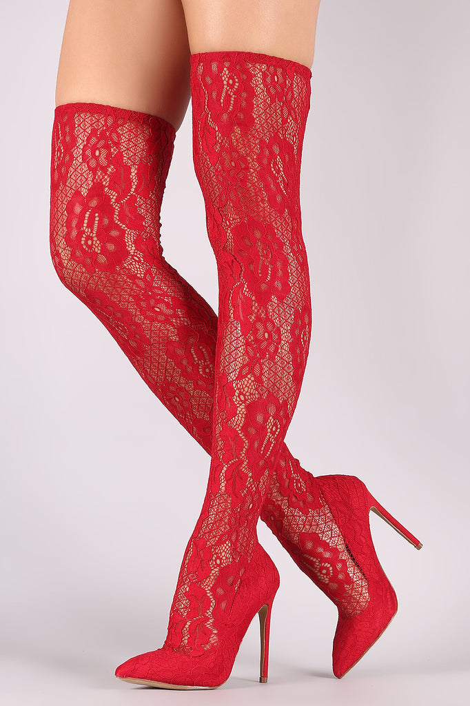 Liliana Floral Lace Pointy Toe Stiletto Over-The-Knee Boots