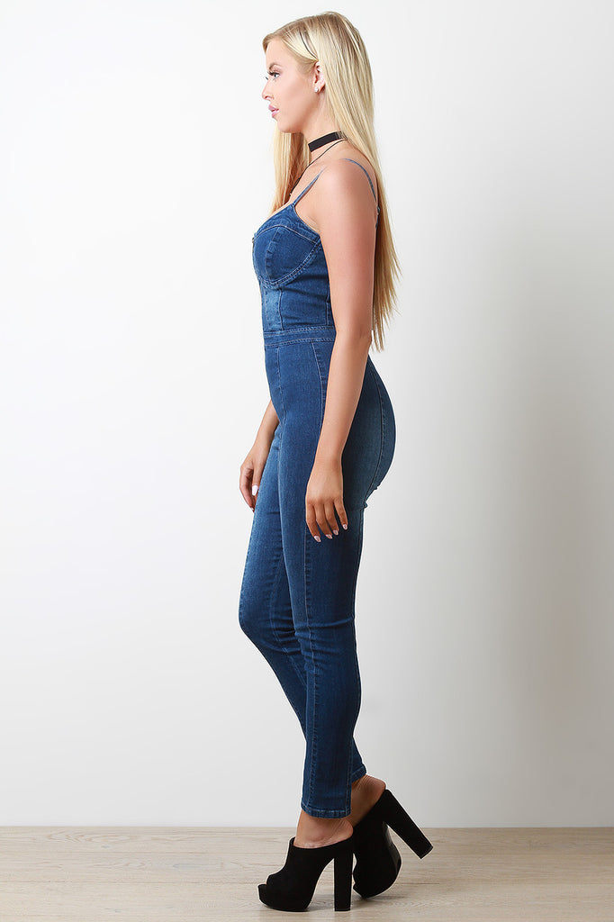 Denim Zippered Front Bustier Fitted Jumpsuit