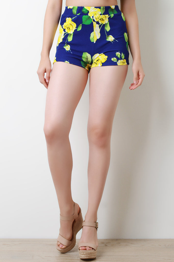 Floral Textured Knit High Waisted Shorts
