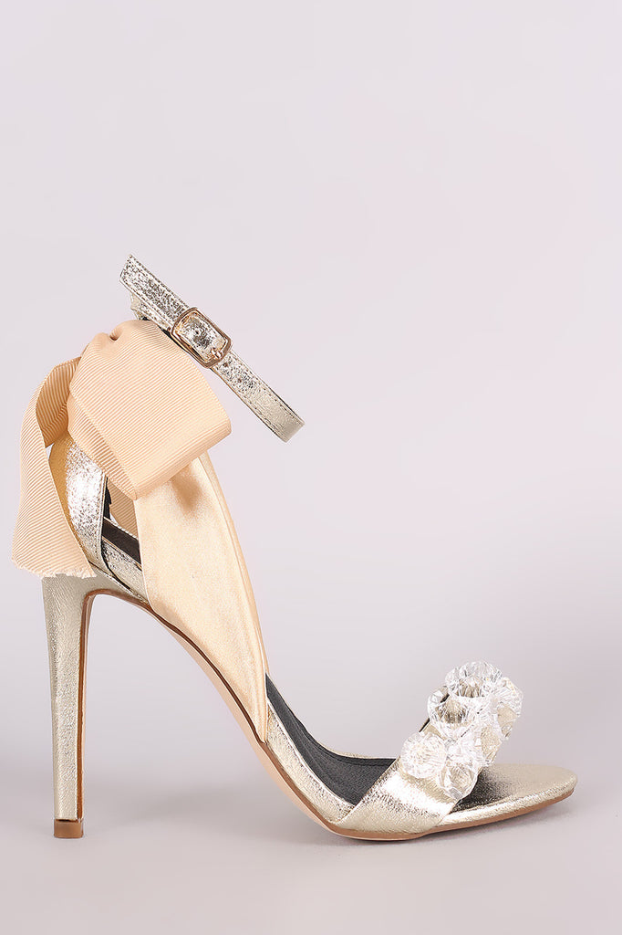 Faux Gemstone And Bow Accent Ankle Strap Stiletto Heel