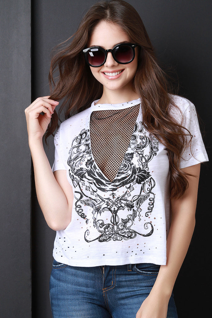 Graphic Print Round Neck Fishnet Insert Distress Top