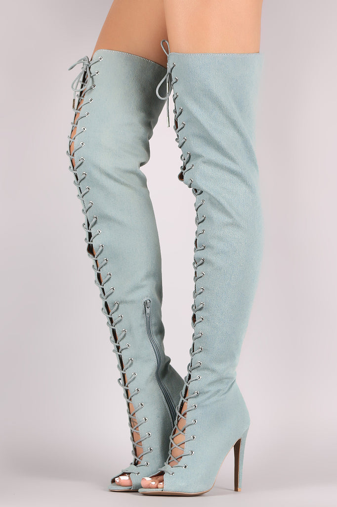 Qupid Denim Peep Toe Lace Up Stiletto Over-The-Knee Boots