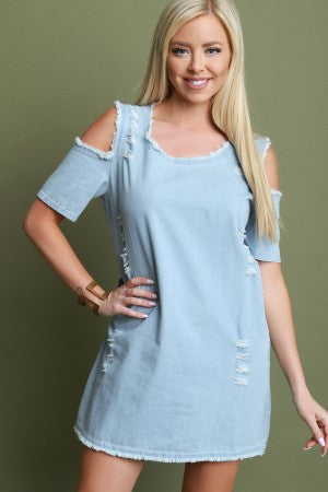 Cold Shoulder Shift Denim Dress