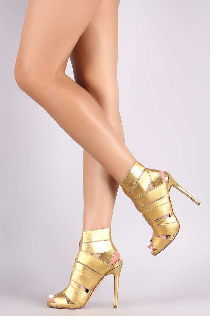Liliana Metallic Elasticized Straps Caged Gladiator Heel
