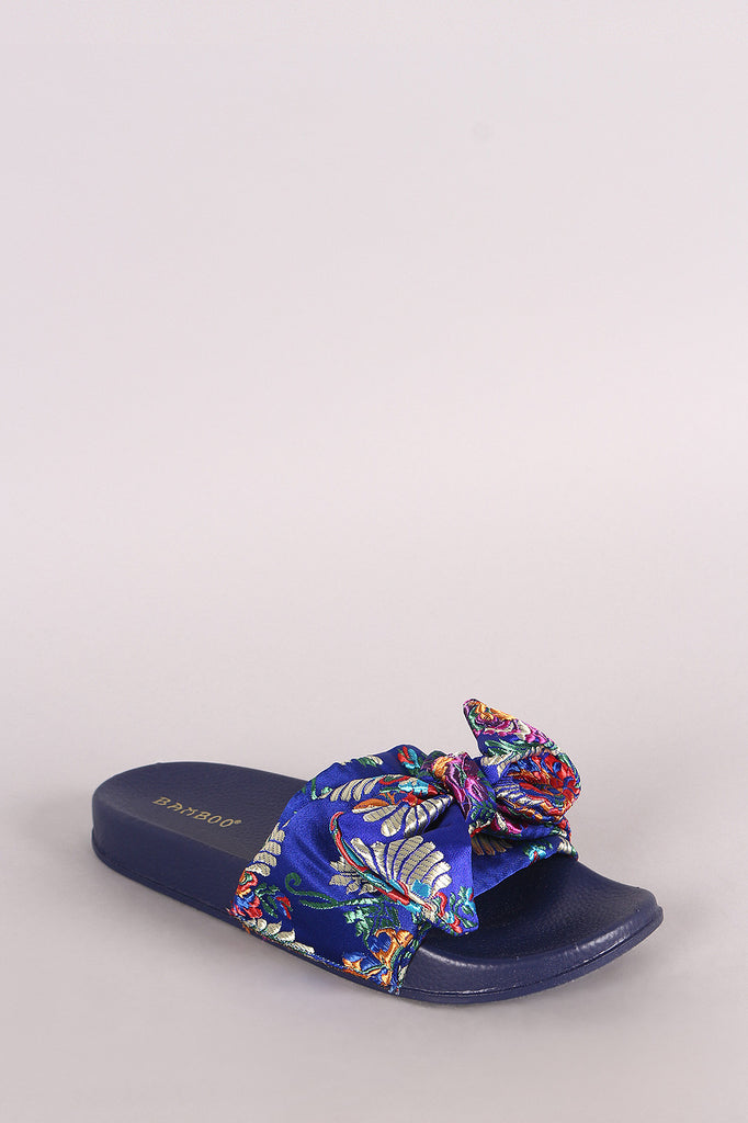 Bamboo Satin Embroidered Brocade Bow Slide Sandal