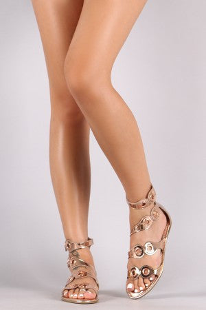 Bamboo Metallic Patent Strappy Grommets Embellished Flat Sandal