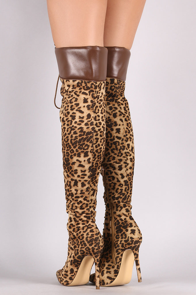 Liliana Leopard Pointy Toe Lace-Up Over-The-Knee Boots