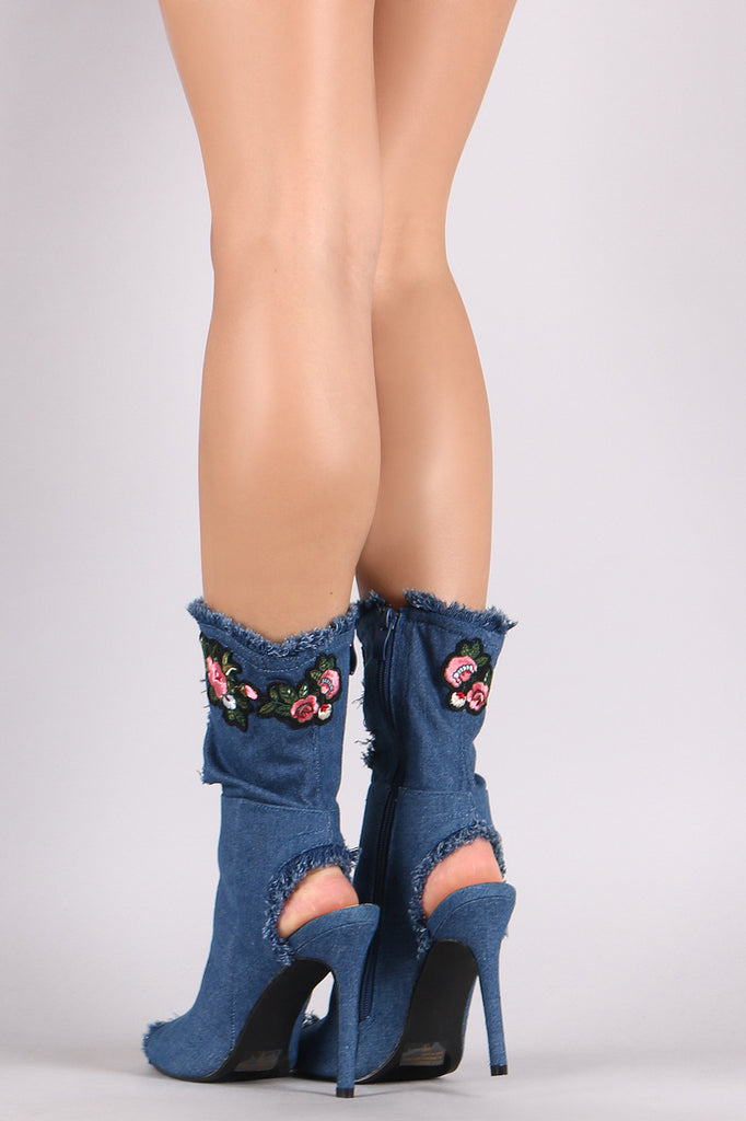 Floral Applique Frayed Distressed Denim Stiletto Boots