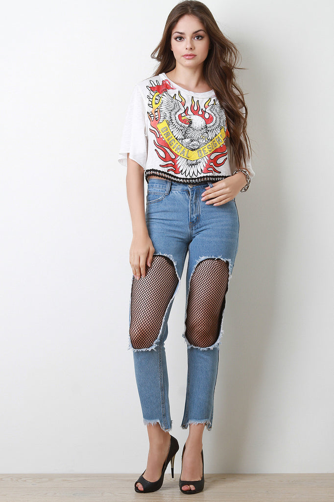 High Rise Fishnet Cutout Panel Denim Jeans