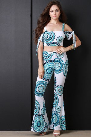 Bohemian Wheel Cold Shoulder Flare Pants Set