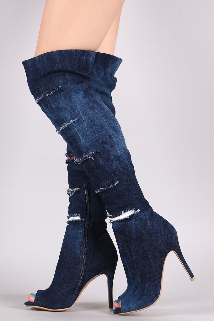 Shoe Republic LA Slashed Contrast Underlay Denim Stiletto Boots
