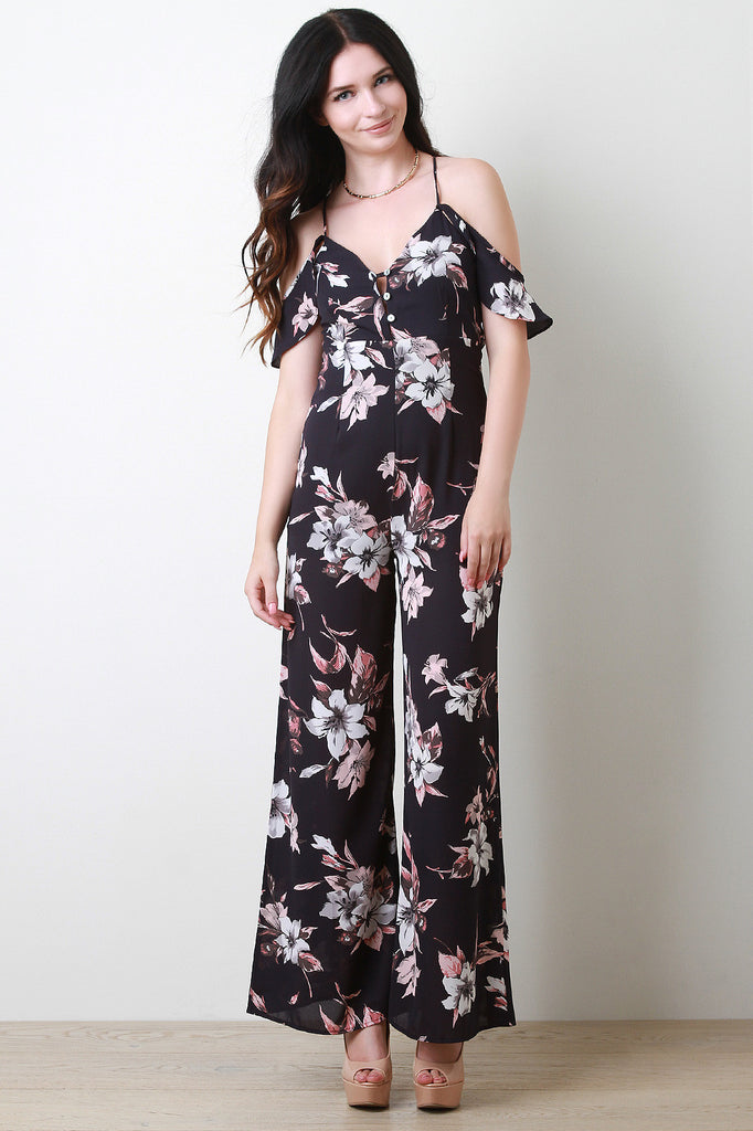 Cold Shoulder Ruffle Wide Leg Floral Jumpsuit