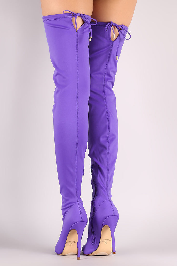Liliana Pointy Toe Drawstring-Tie Stiletto Elastane Over-The-Knee Boots