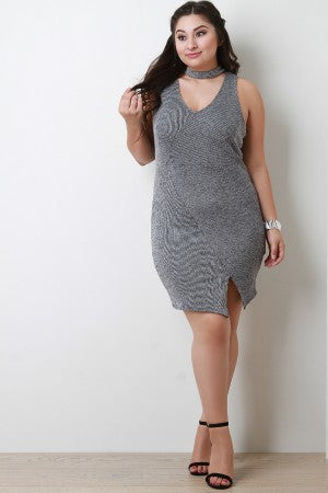 Ribbed Knit Keyhole Mock Neck Envelope Midi Dress