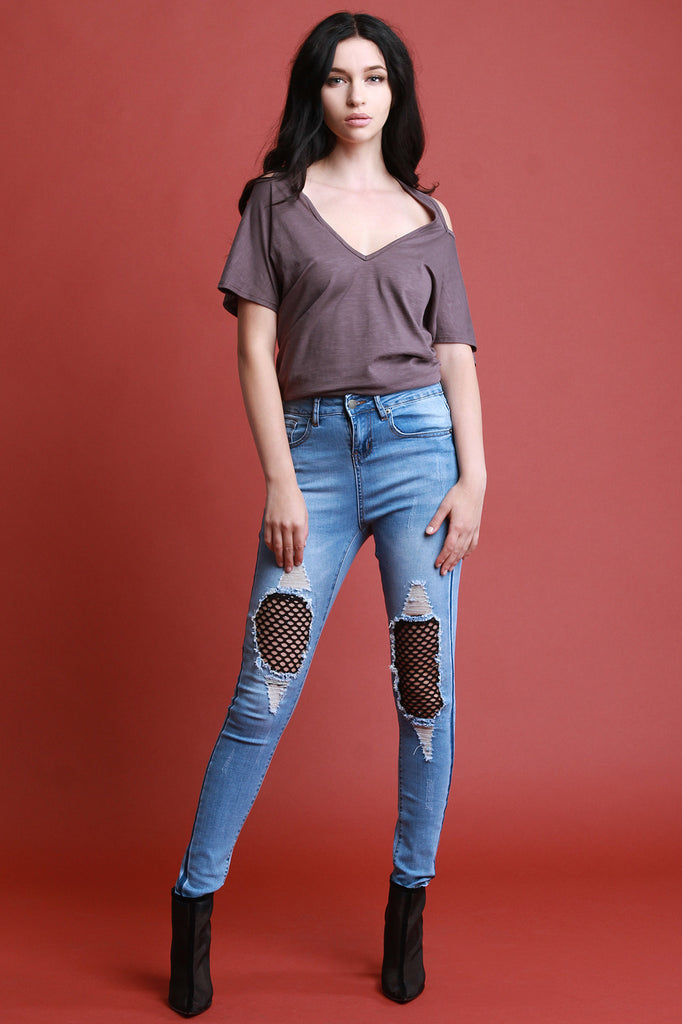 Distressed Fishnet Panel High Waist Skinny Jeans